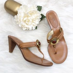 Coach Shoes - Coach Caridee Tan Leather Thong Sandals Sz 10